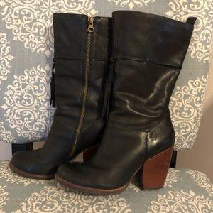 Kork Ease Black Leather Boots 8